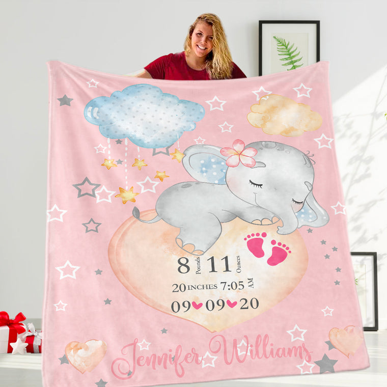 Custom Baby's Name Elephant Fleece Blanket