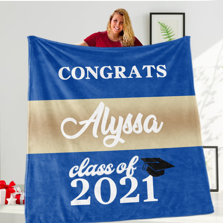 Personalized Graduation Fleece Blanket for Class Of 2021 VIII
