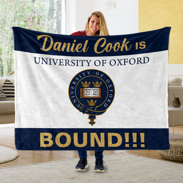 Custom Name, College Name & Logo Graduation Cozy Plush Blankets, Navy & White Background