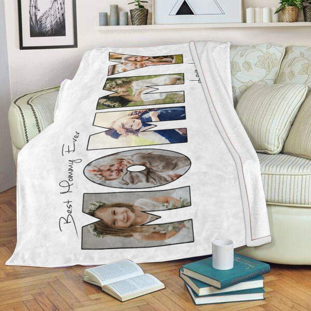 Personalized Mommy Photo Collage Fleece Blanket
