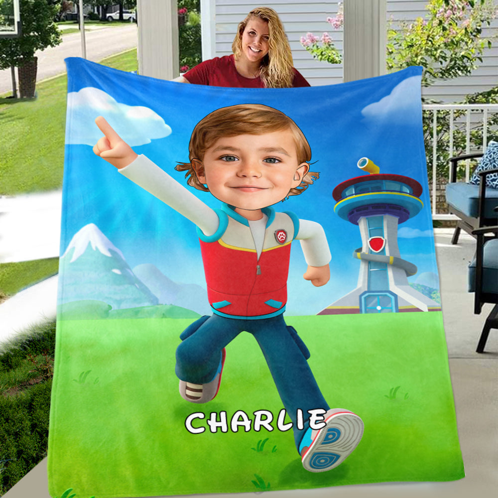 Personalized Hand-Drawing Kid's Photo Portrait Fleece Blanket XXIII