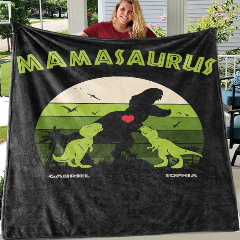 Custom DINOSAUR Family Names Blankets