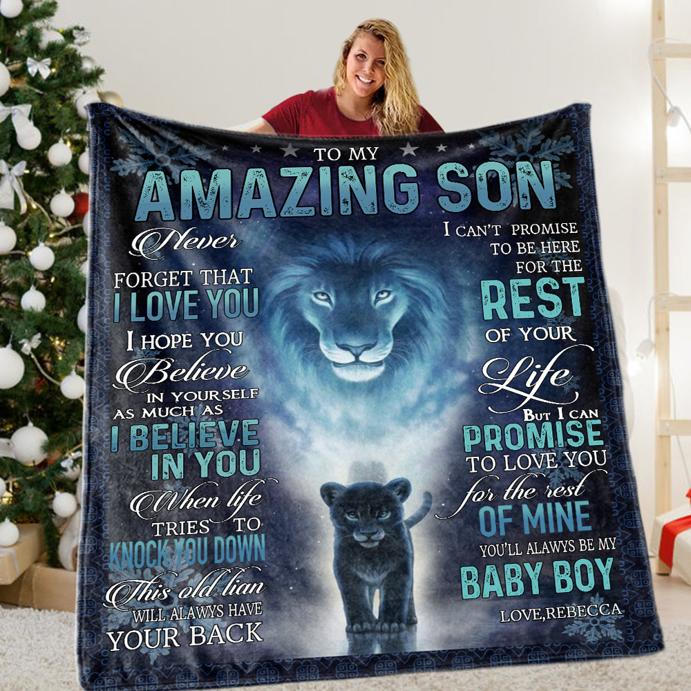 Personalized To My Son Fleece Blanket With Custom Name V