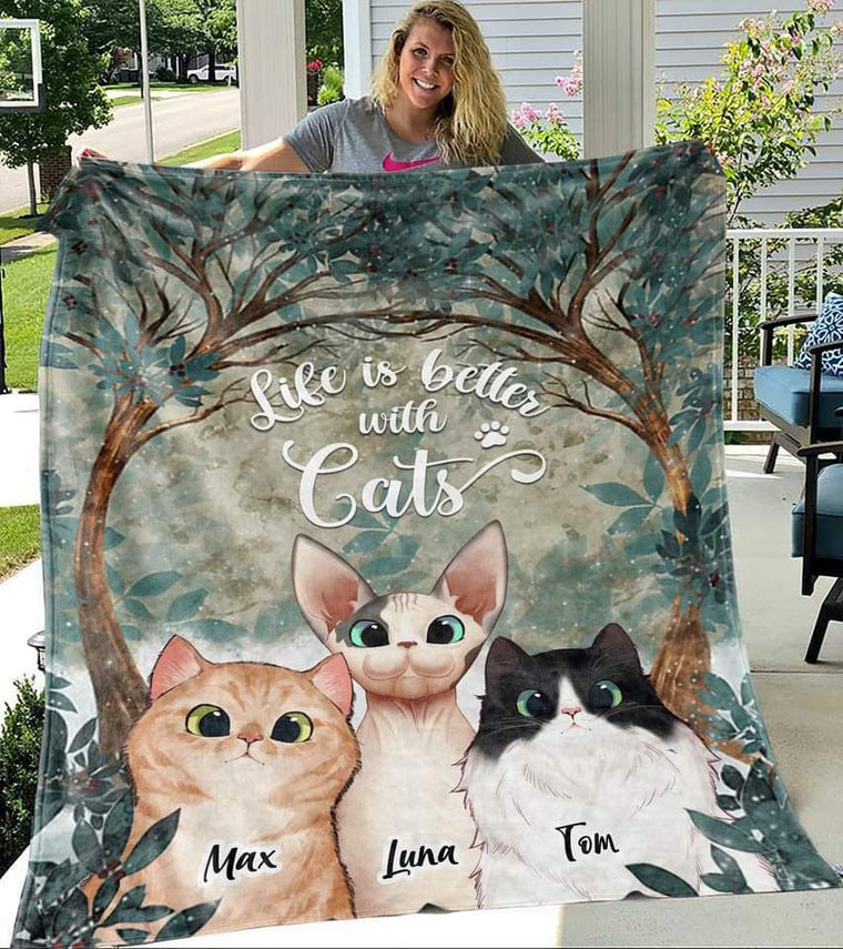 Custom Blanket For Cat Lover, Different Breeds and Numbers to Choose. Cat Blanket