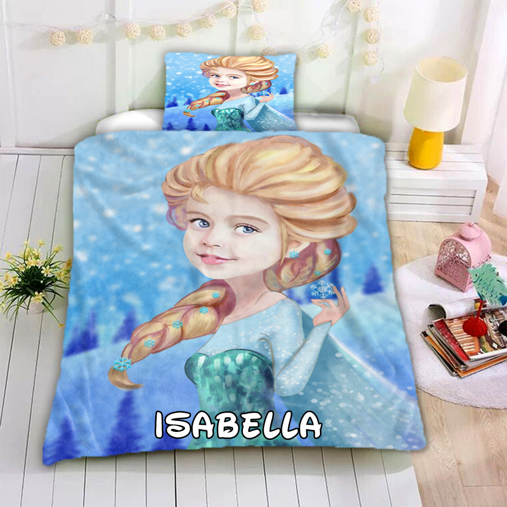 Personalized Hand-Drawing Kid's Photo Portrait Cozy Microfiber Bedding Set I