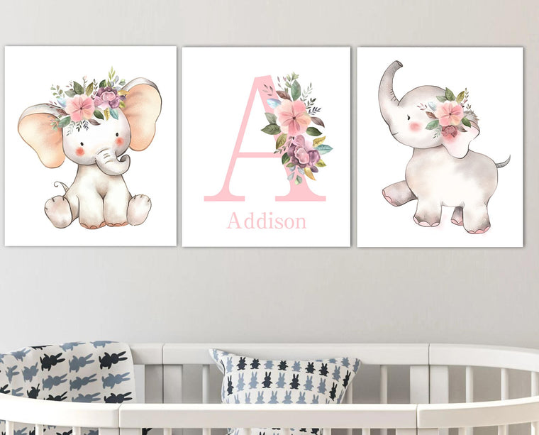 Personalized Initial & Name Pink Cartoon Elephant Wall Art, Baby Girl Nursery Wall Art, 3 Piece Set Canvas Set
