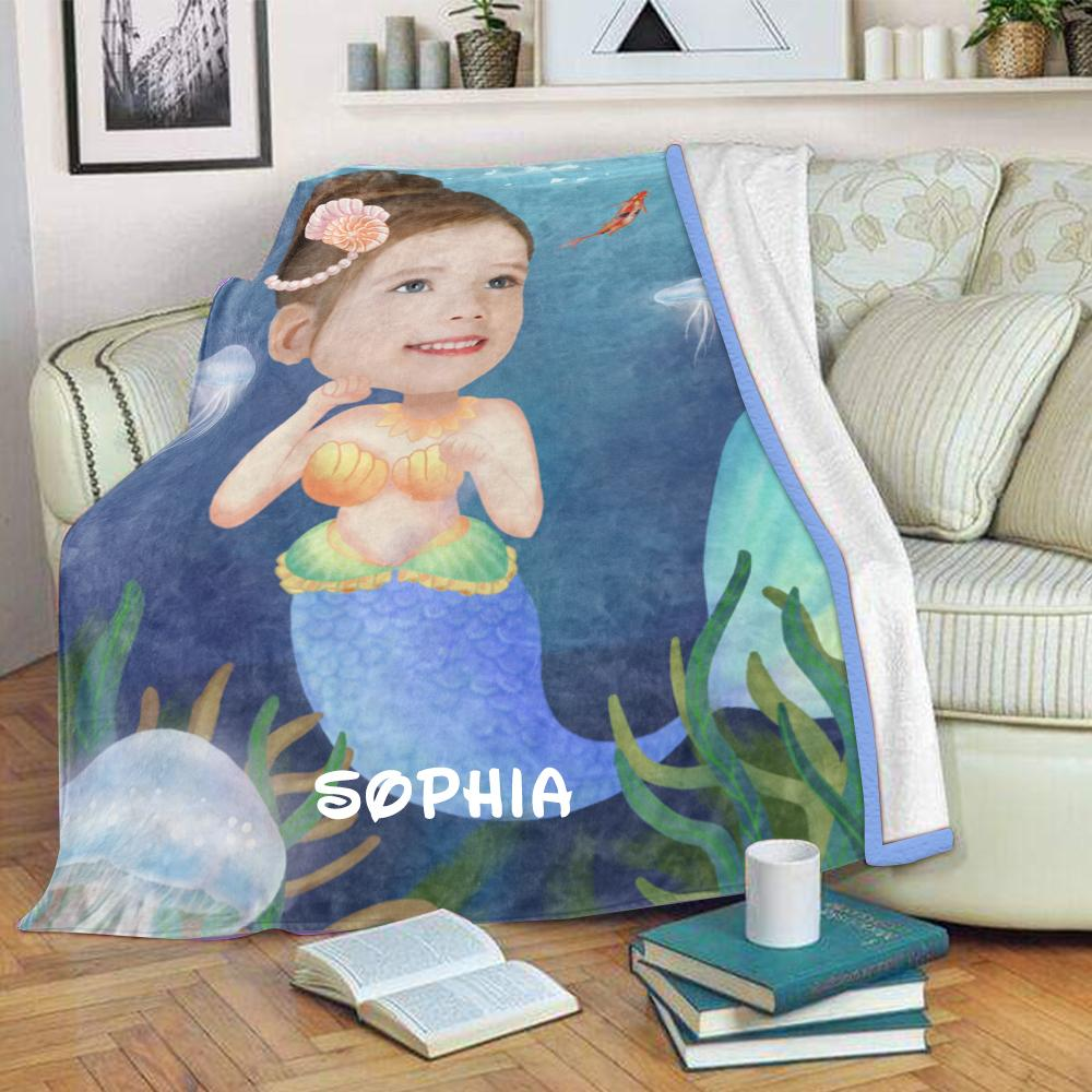 Personalized Mermaid Hand-Drawing Kid's Photo Portrait Fleece Blanket I-BUY 2 SAVE 10%