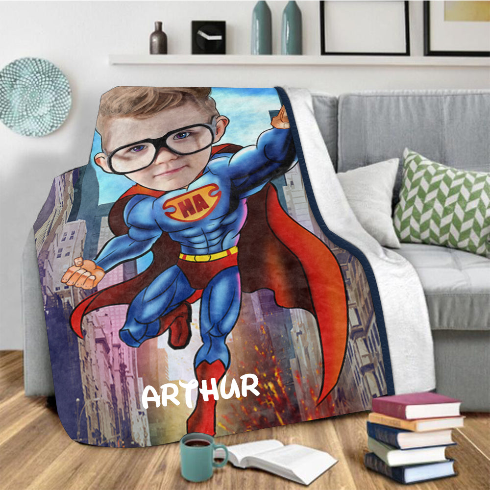 Personalized Hand-Drawing Kid's Photo Portrait Fleece Blanket VII