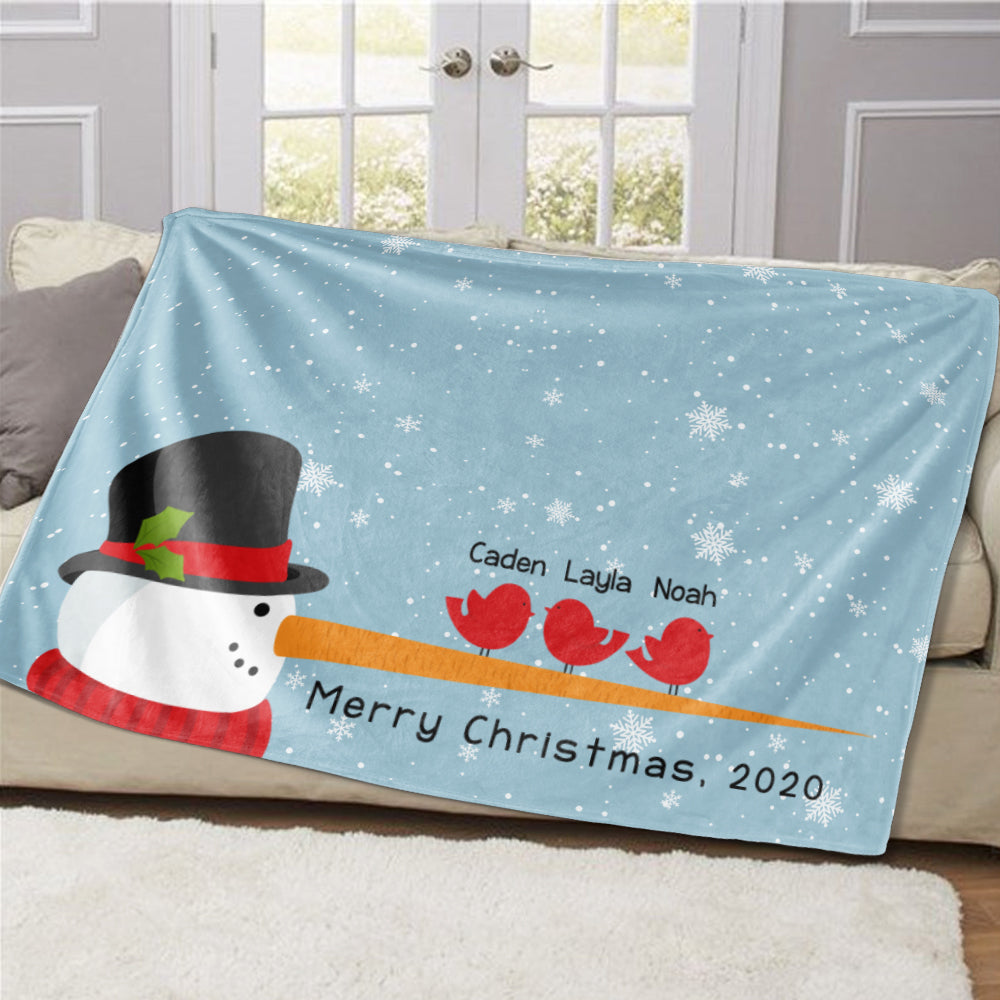 Personalized Christmas Snowman and Bird Family Member Fleece Blanket
