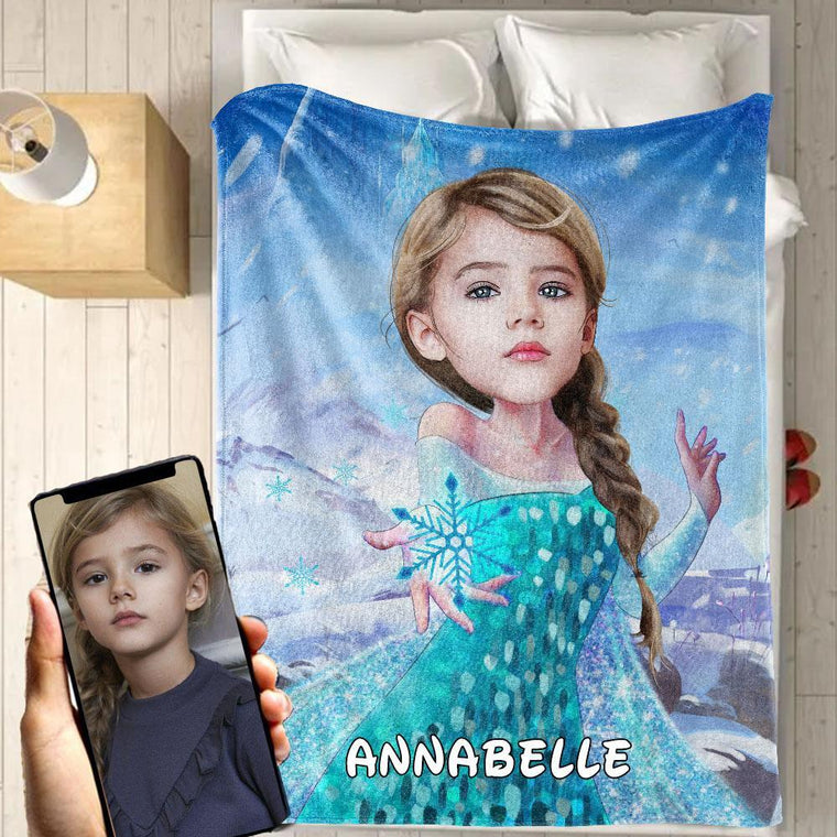 Personalized Hand-Drawing Kid's Photo Portrait Fleece Blanket XIV