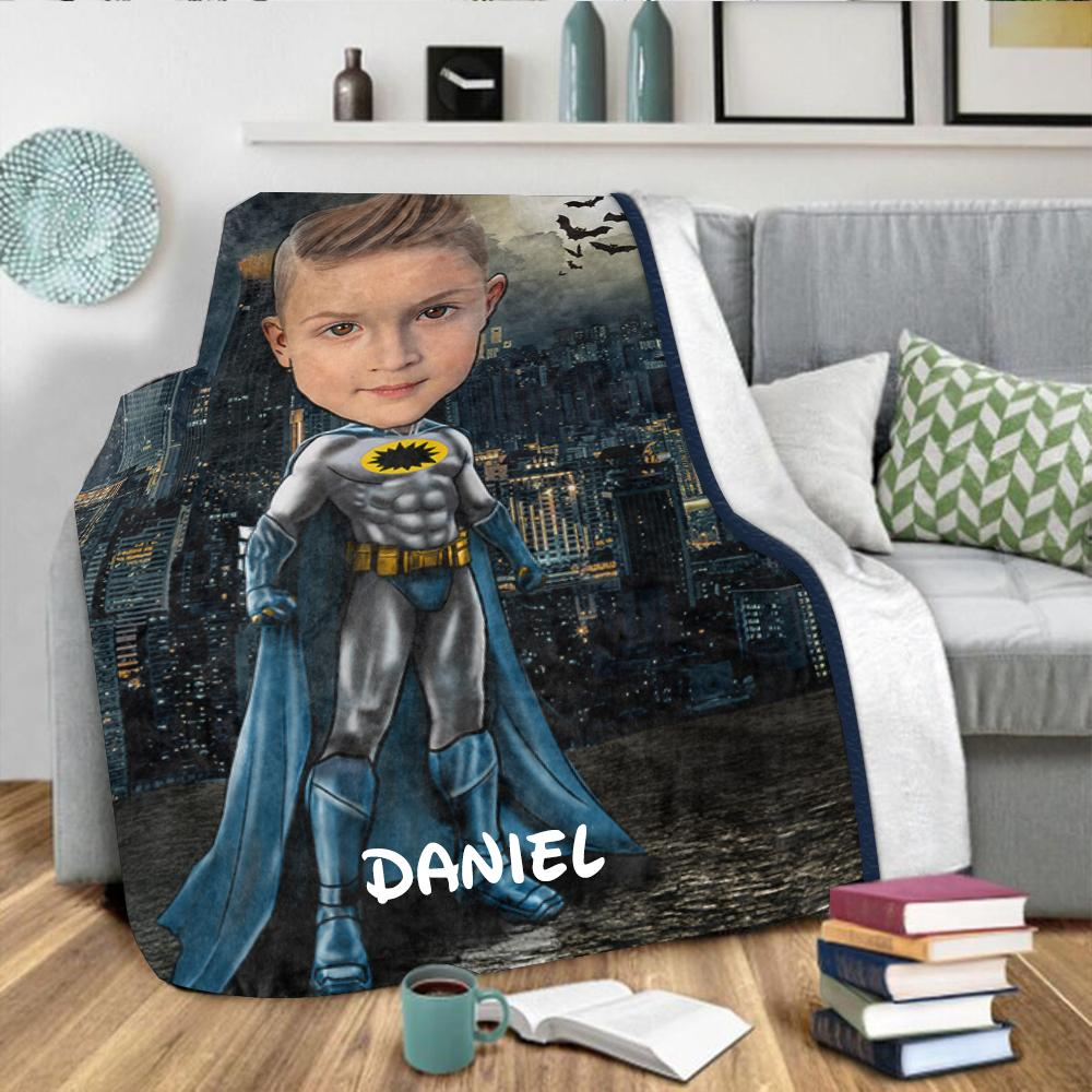 Personalized Hand-Drawing Kid's Photo Portrait Velveteen Plush Blanket VI - Made in USA