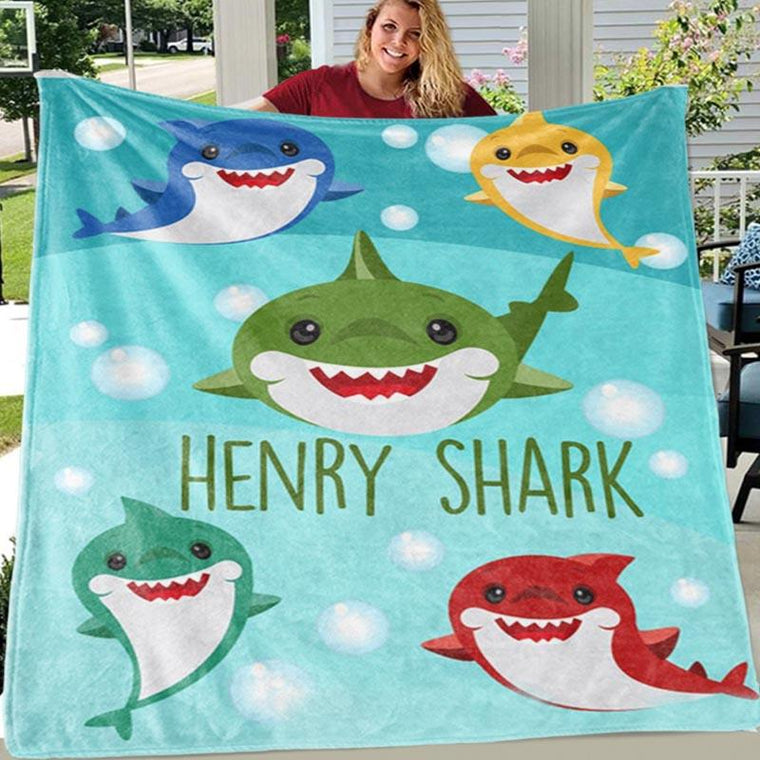 Custom SHARK Name Blankets