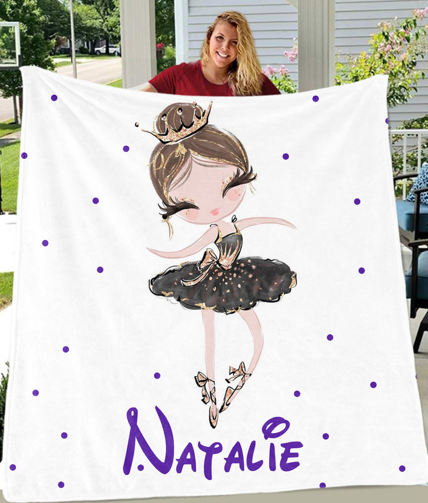 Personalized Name Dancing Girl Cozy Plush Fleece Blankets II