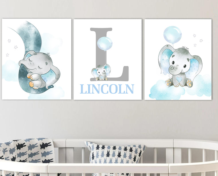 Personalized Initial & Name Cute Elephant Canvas Wall Art, Baby Boy Nursery Wall Art, 3 Piece Set Canvas Art