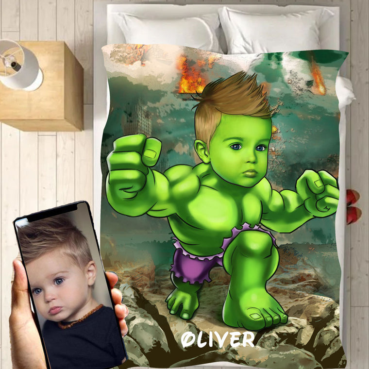 Personalized Hand-Drawing Kid's Photo Portrait Fleece Blanket III
