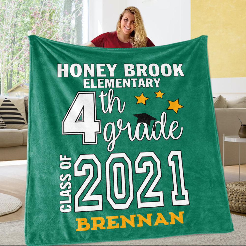 Personalized Graduation Fleece Blanket for Class Of 2021 XVII