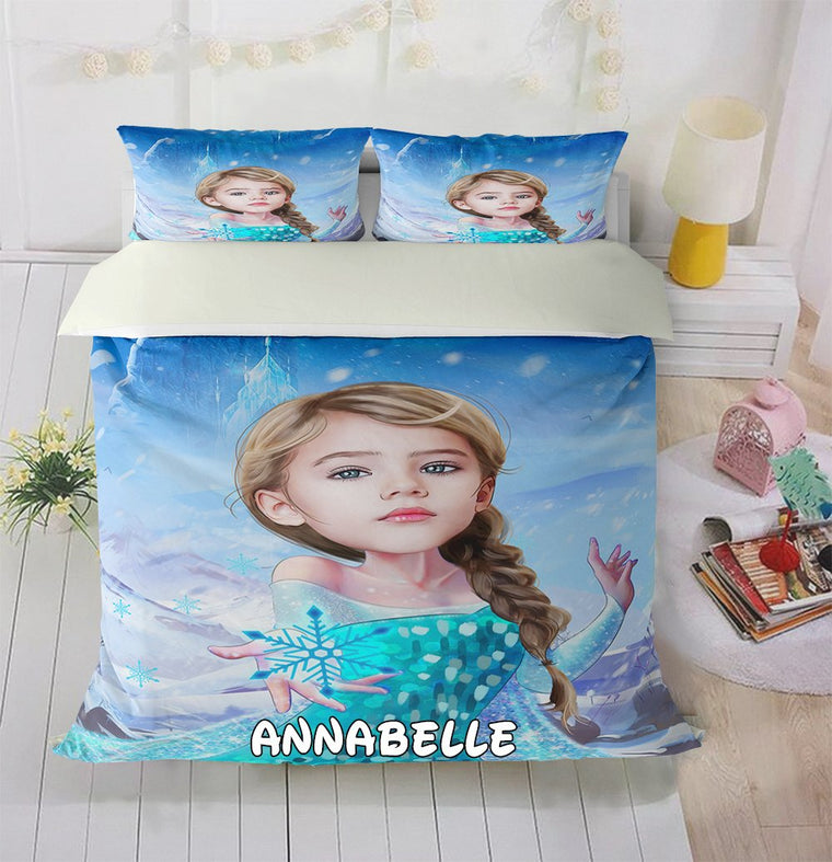 Personalized Hand-Drawing Kid's Photo Portrait Cozy Microfiber Bedding Set XVI