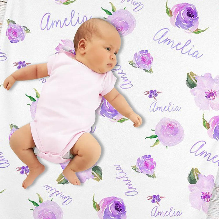 Personalized Light Purple Floral Baby Girl Name Blanket