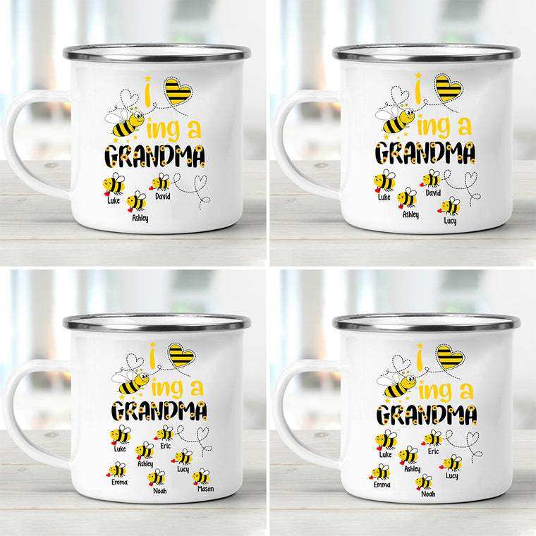 'I Love Being Grandma' Custom Title Children's Names Enamel Campfire Mug - Made in USA