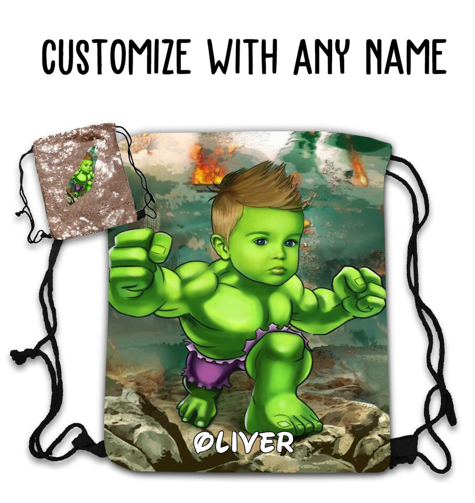 Personalized Hand-Drawing Kid's Portrait Sequin Drawstring Bag I-BUY 2 SAVE 10%