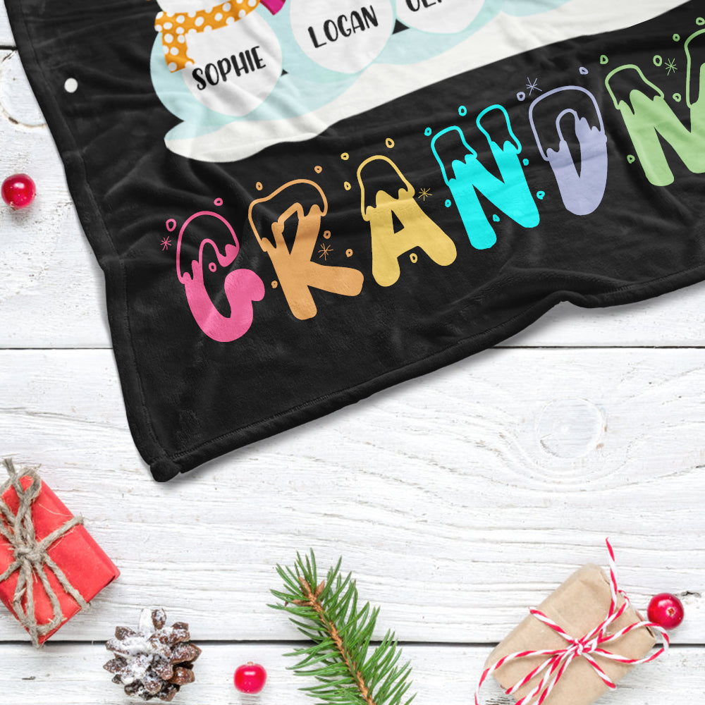 Personalized Snowmen Blanket with Grandkids' Names - Max 38 Snowmen Available!