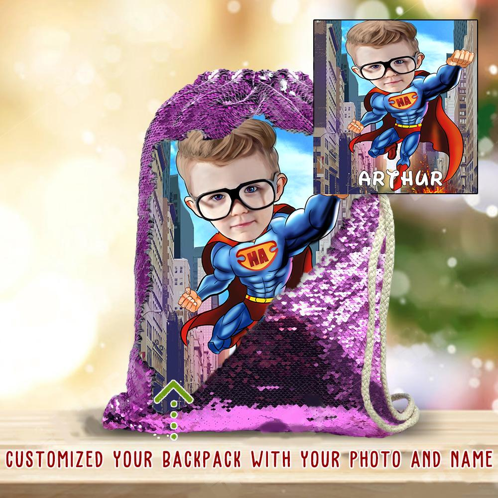 Personalized Hand-Drawing Kid's Portrait Sequin Drawstring Bag X-BUY 2 SAVE 10%