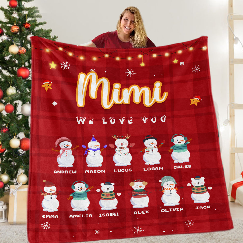Personalized Snowmen Christmas Blanket with Children's Names
