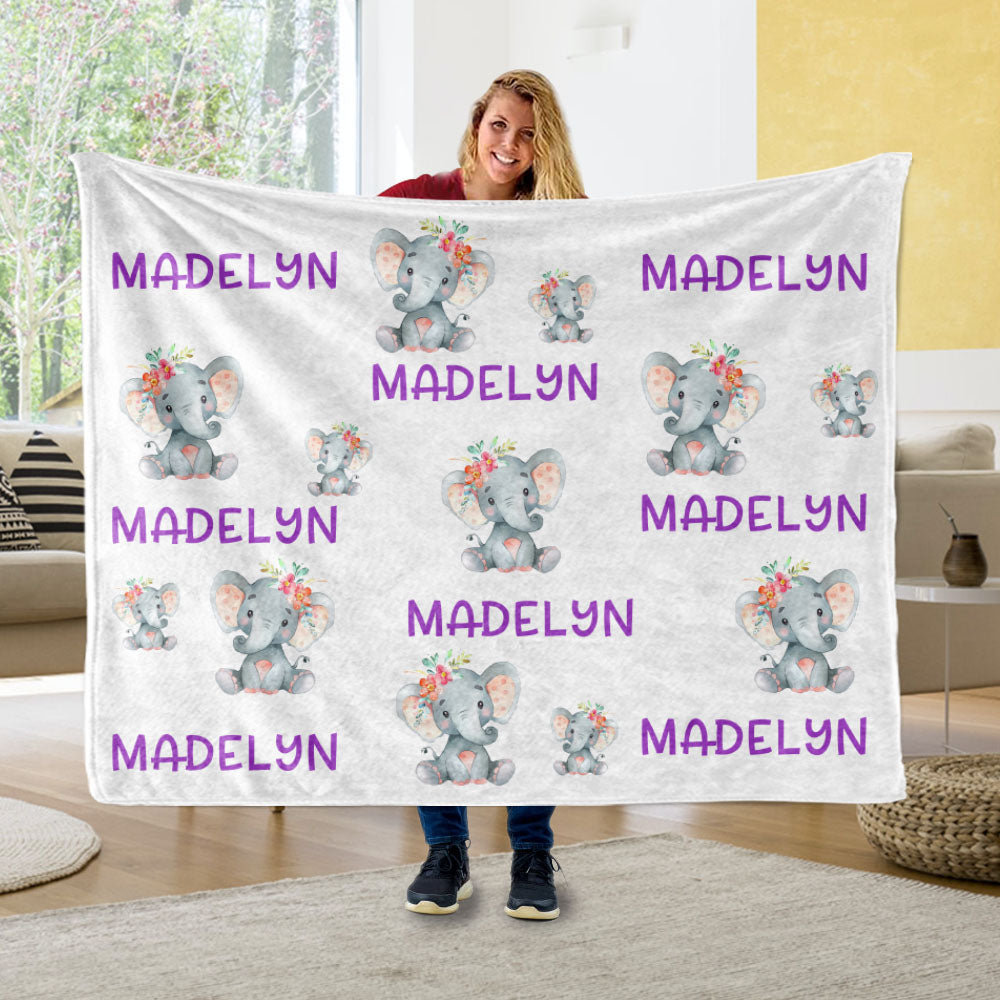Personalized Purple Name Elephant Blankets