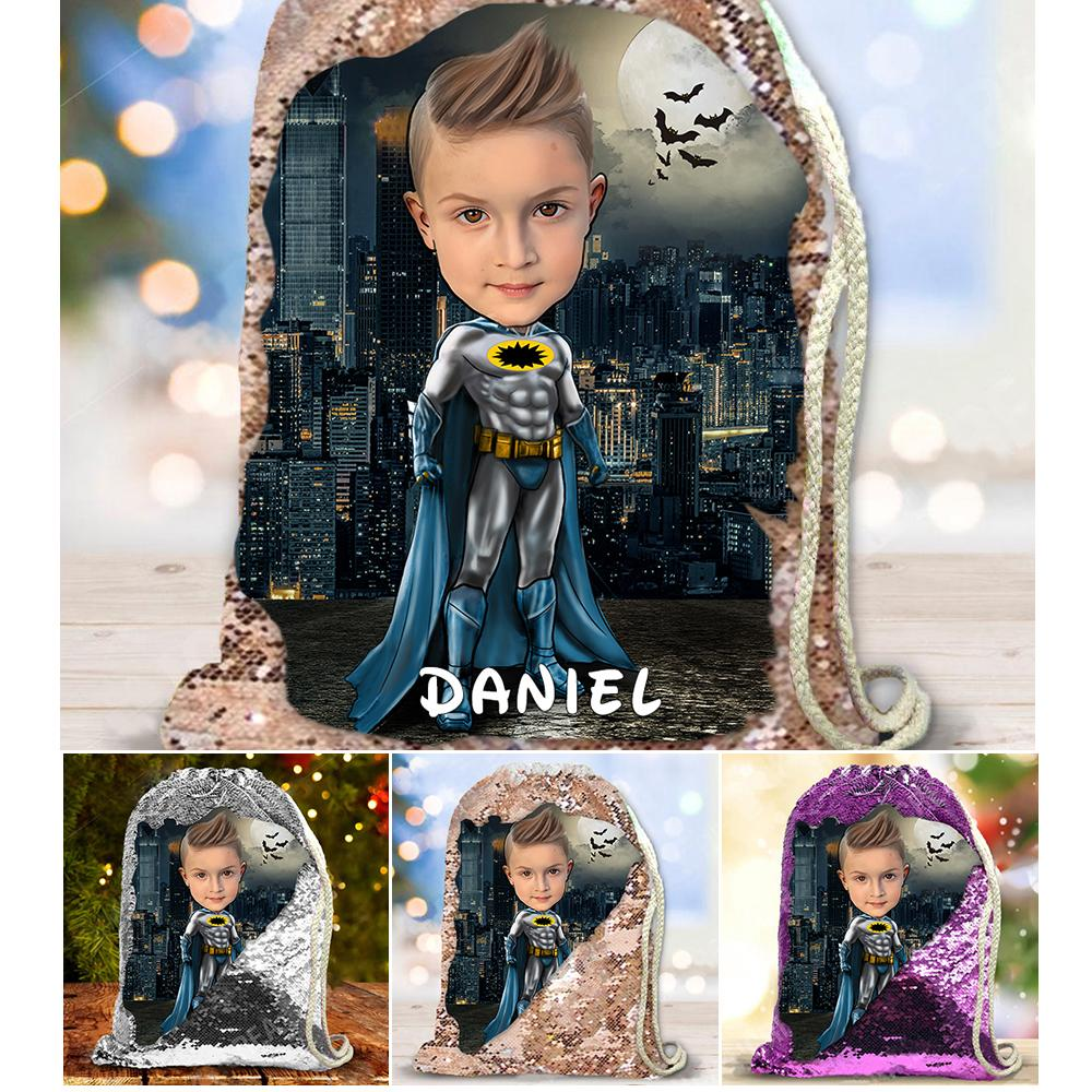 Personalized Hand-Drawing Kid's Portrait Sequin Drawstring Bag IX-BUY 2 SAVE 10%