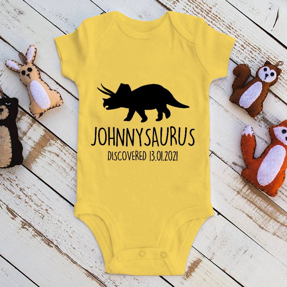 Personalised Triceratops Dinosaur Baby Onesie, Custom Baby Shower Gift - Made in USA