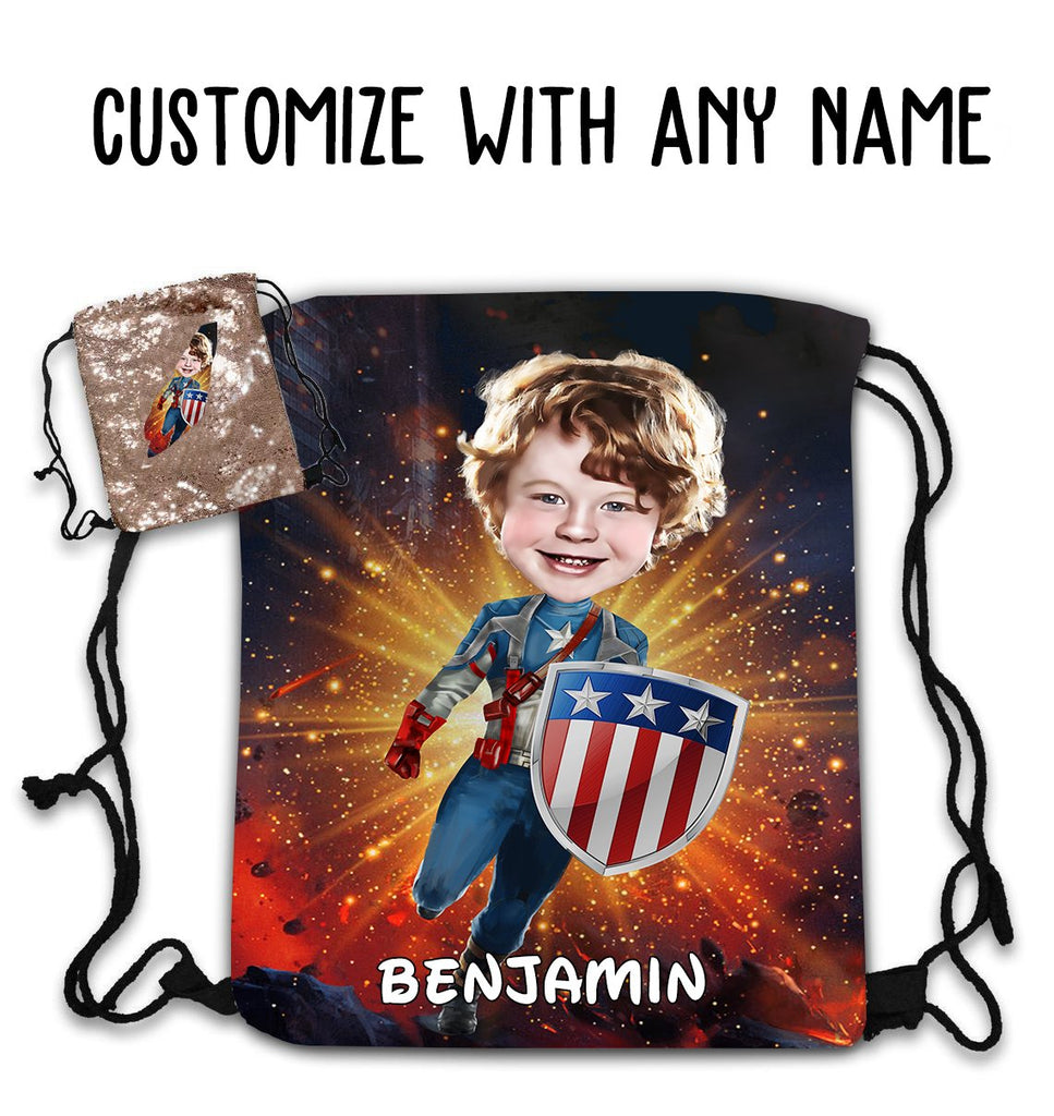Personalized Hand-Drawing Kid's Portrait Sequin Drawstring Bag V-BUY 2 SAVE 10%