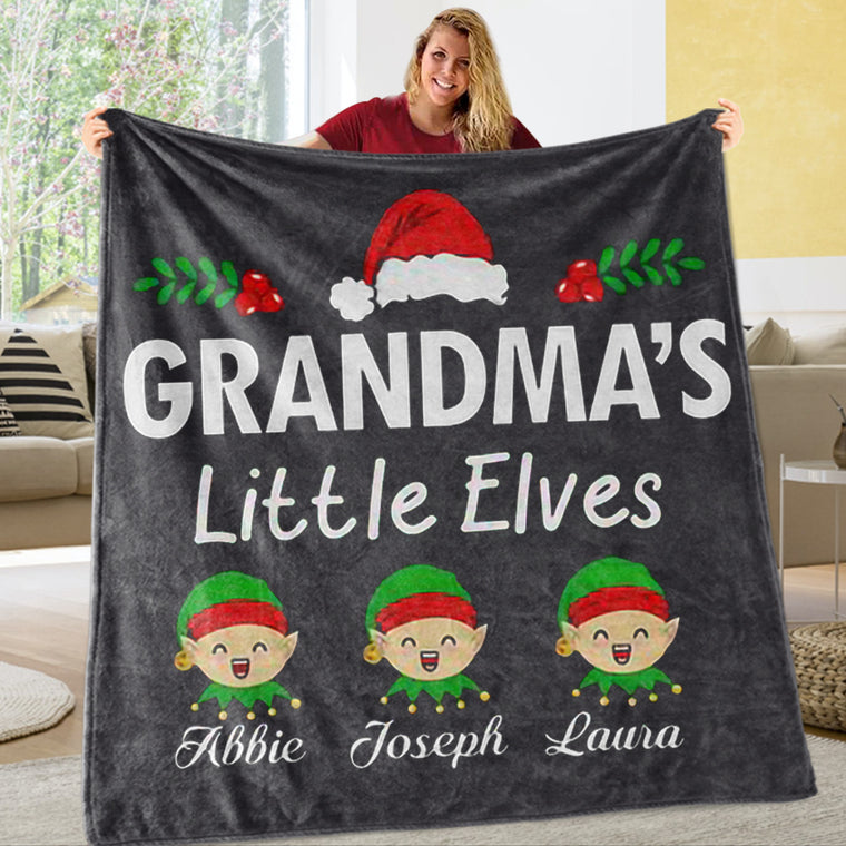 Personalized Little Elves Christmas Family Member Fleece Blanket