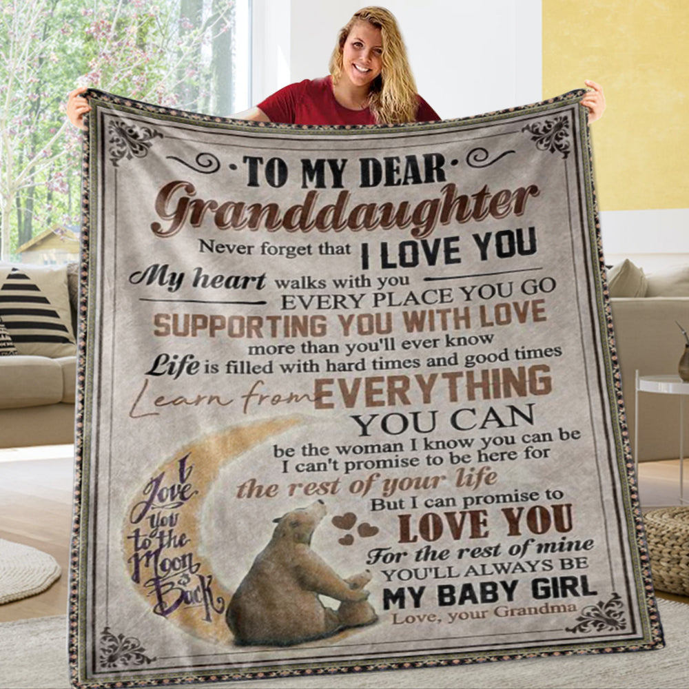 Personalized To My Granddaughter Fleece Blanket With Custom Name III