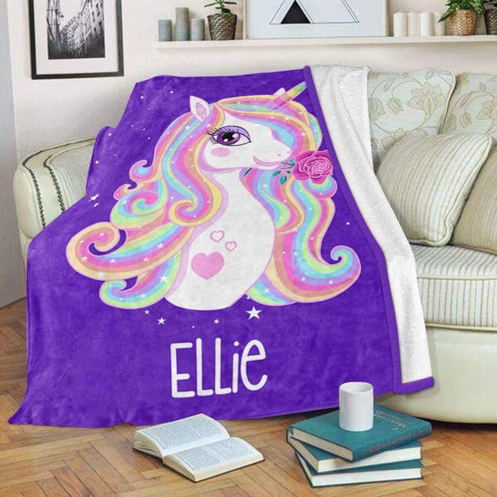 Custom Name Unicorn Velveteen Plush Blanket VII - Made in USA