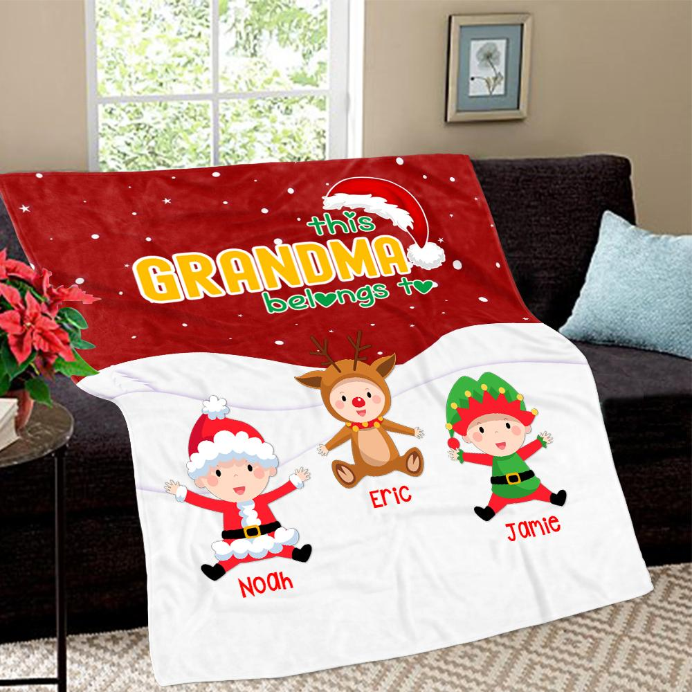 Personalized Christmas Blanket with Baby Names