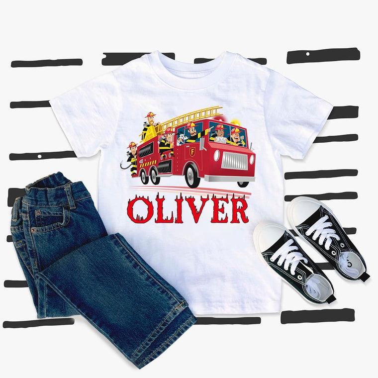 Custom Name Firefighter Kids Heavy Cotton Tee