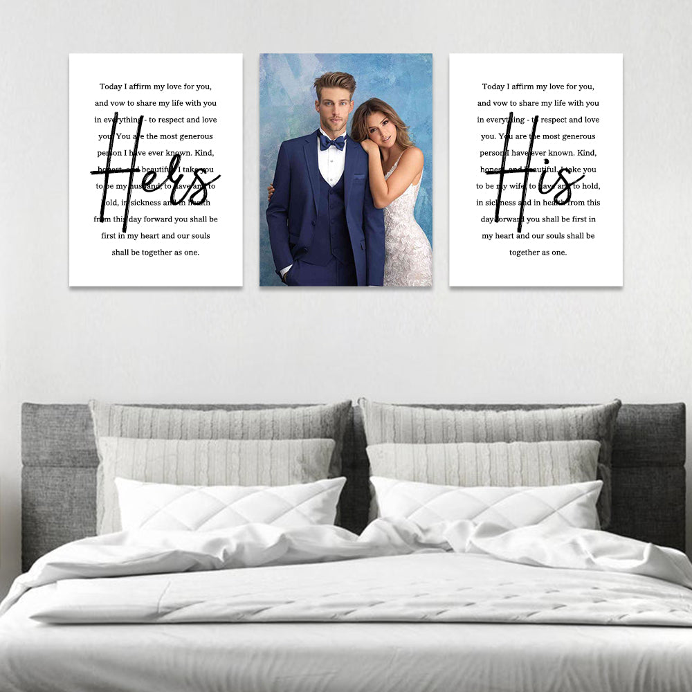 Personalized Framed Wedding Vows Canvas Wall Art, 3 Piece Set Canvas Print II