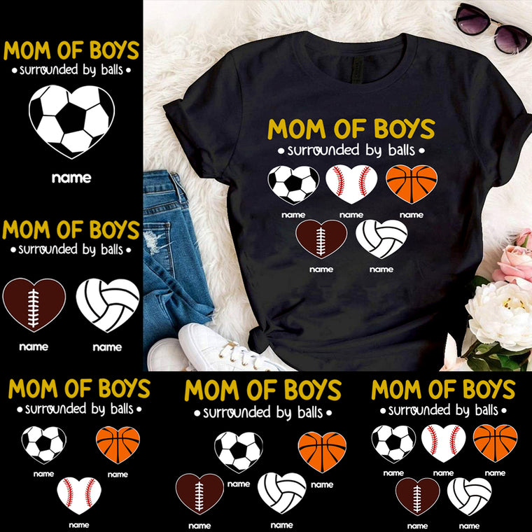 Custom Mother's Day Mom Of Boys Unisex Heavy Cotton Tee