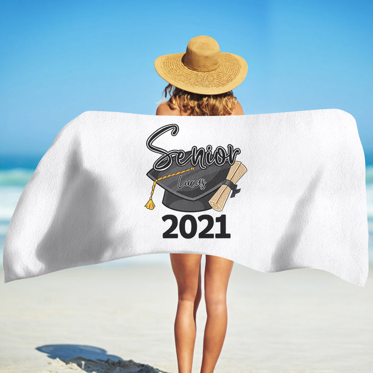 Class Of 2021 Personalized Name Graduation Beach Towel II