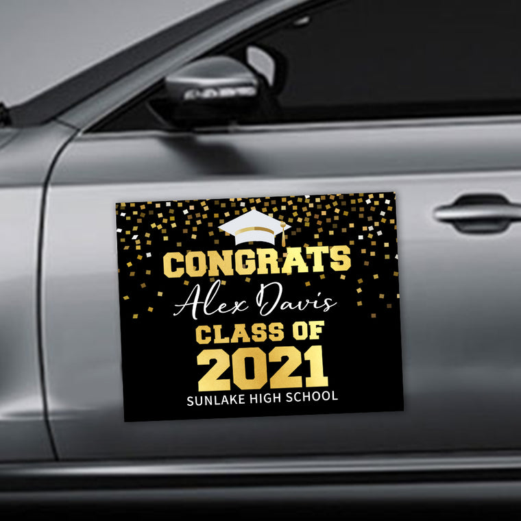 Custom Name Graduation Car Magnets - 20 Colors Available