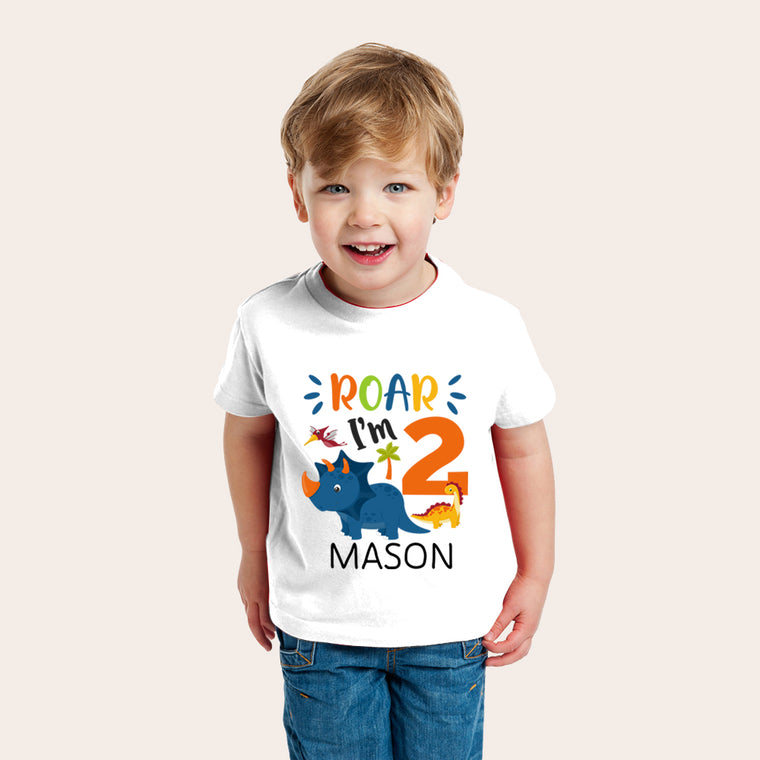 Customed Brontosaurus Kids Dinosaur T-Shirt, Birthday Gift for Your Children