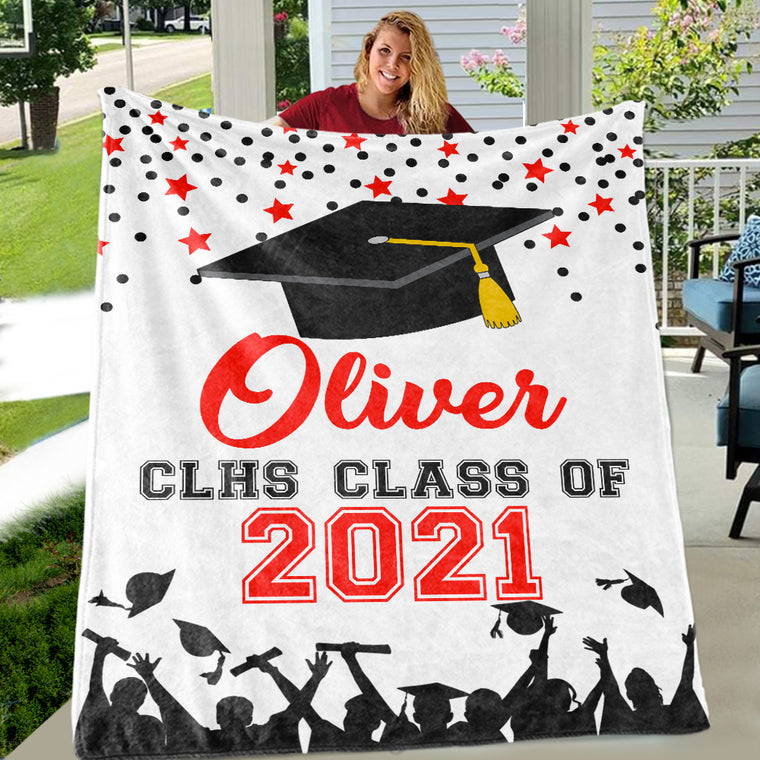 Personalized Graduation Fleece Blanket for Class Of 2021 VI