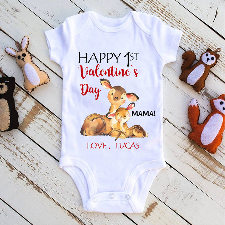 Custom Name Deer Valentine's Day Baby Onesie, Mom Shirt, Fleece Blanket