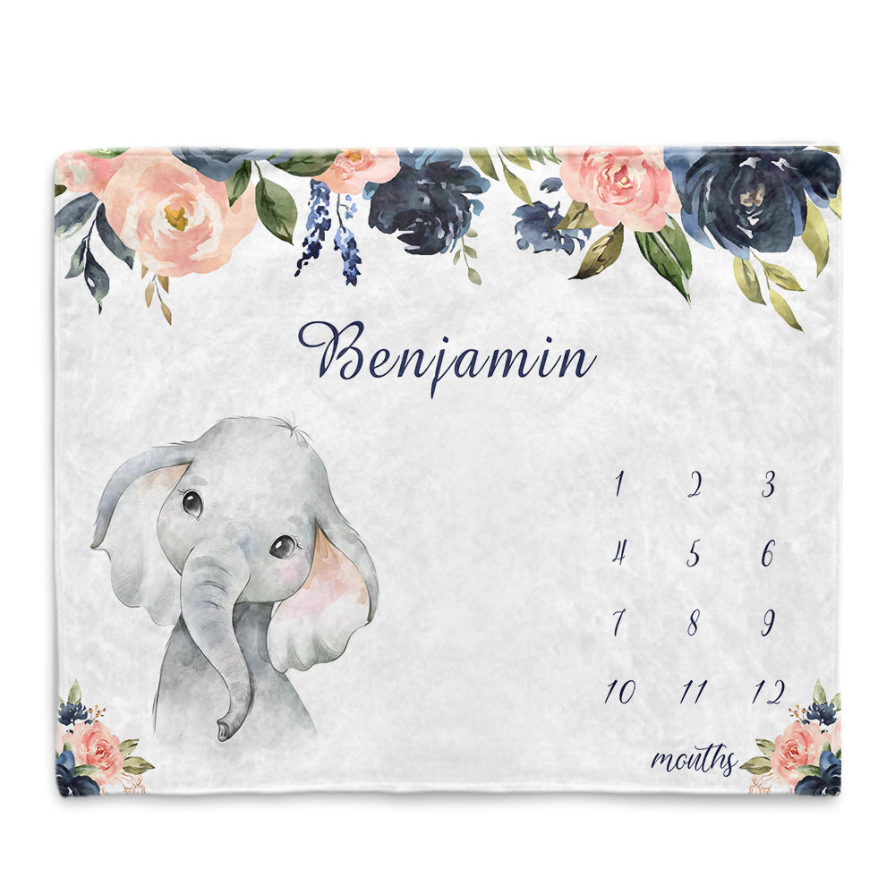 Personalized Name Baby Boy Elephant Fleece Blankets with Navy Flowers Milestone Blanket