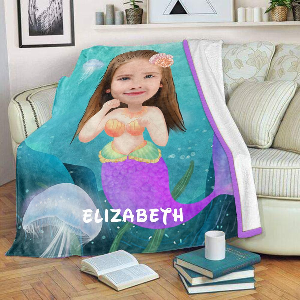 Personalized Mermaid Hand-Drawing Kid's Photo Portrait Fleece Blanket II
