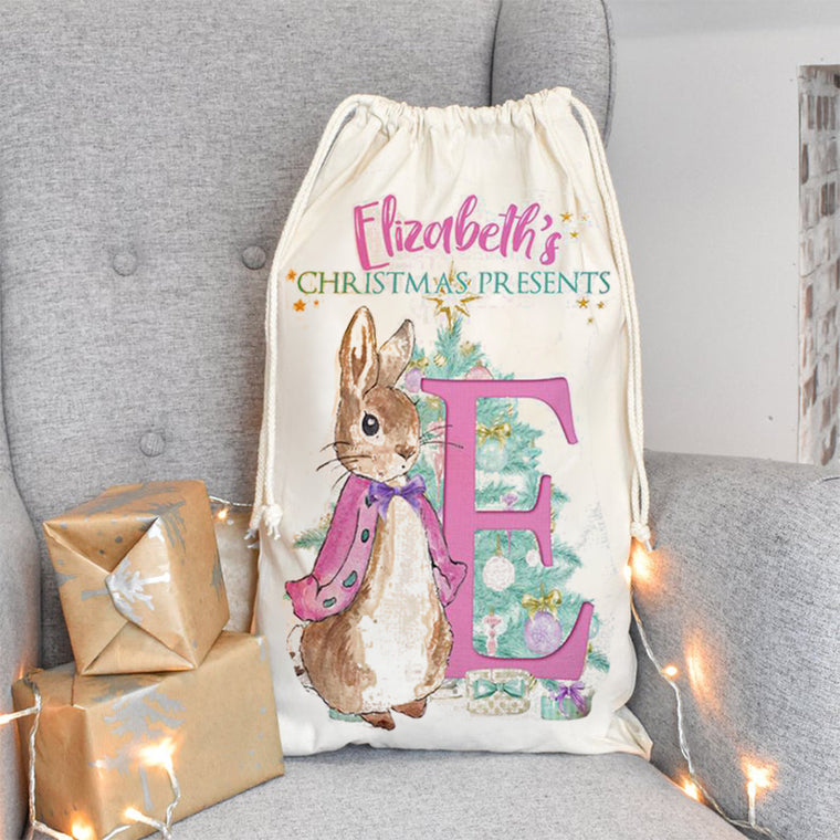 Personalized Rabbit Santa Sack With Name, Child's Christmas Gift Sack