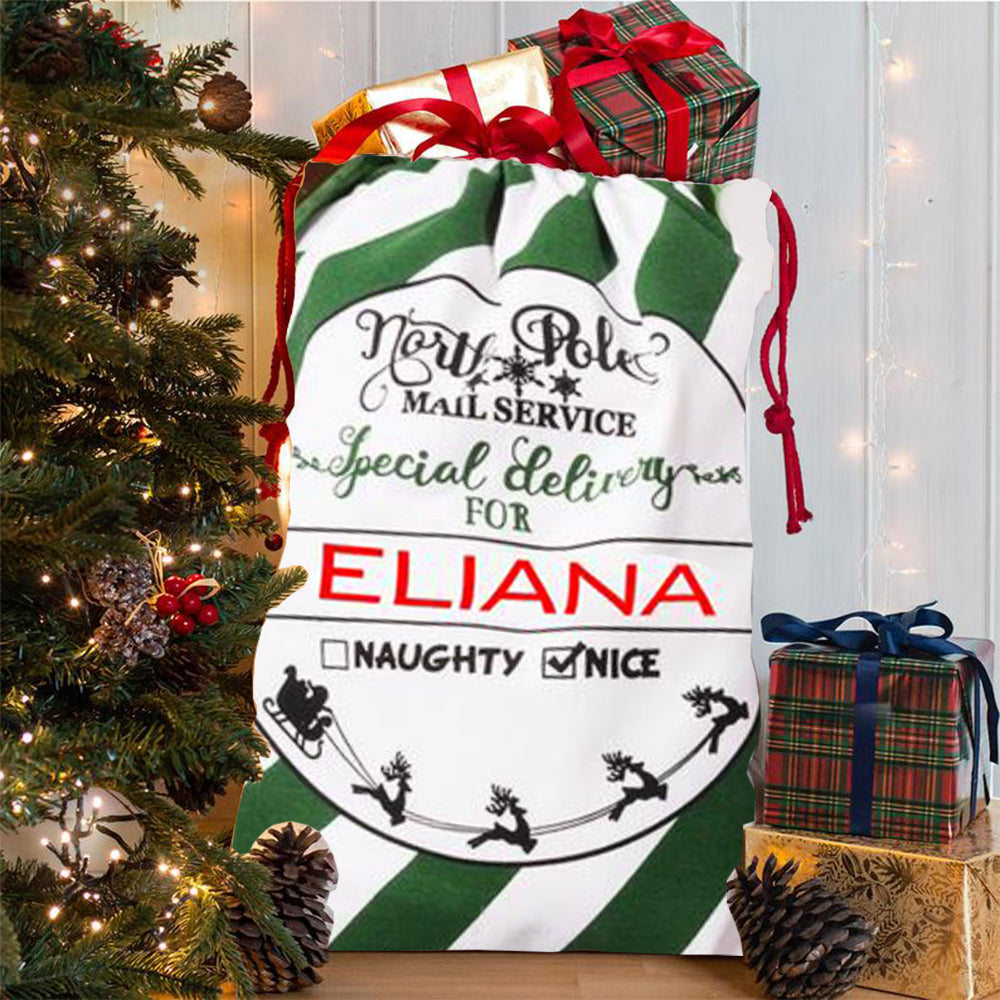 Personalized Green-White Stripe Santa Sack With Name, Child's Christmas Gift Sack