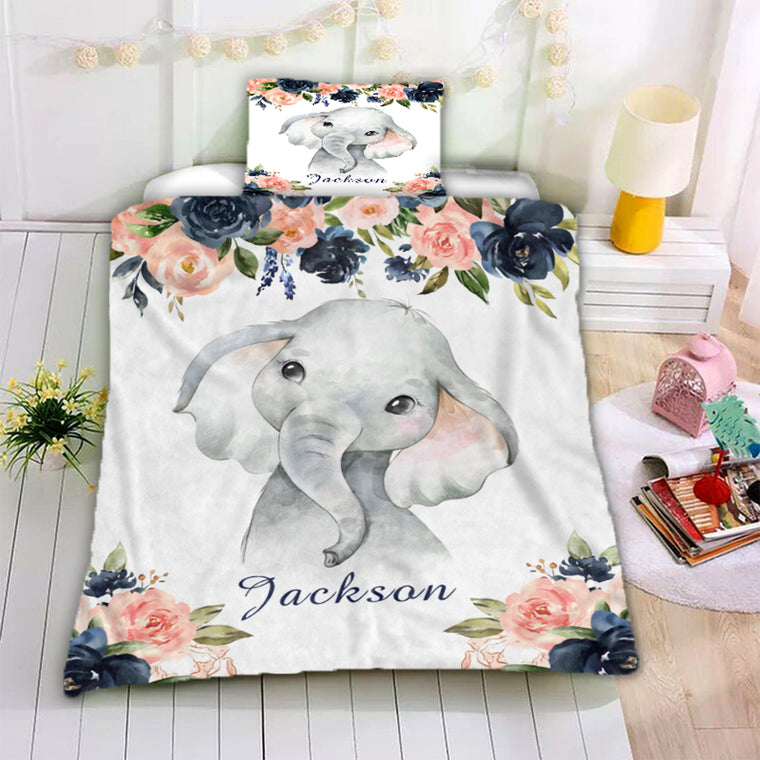 Personalized Name Baby Elephant Microfiber Bedding Set V