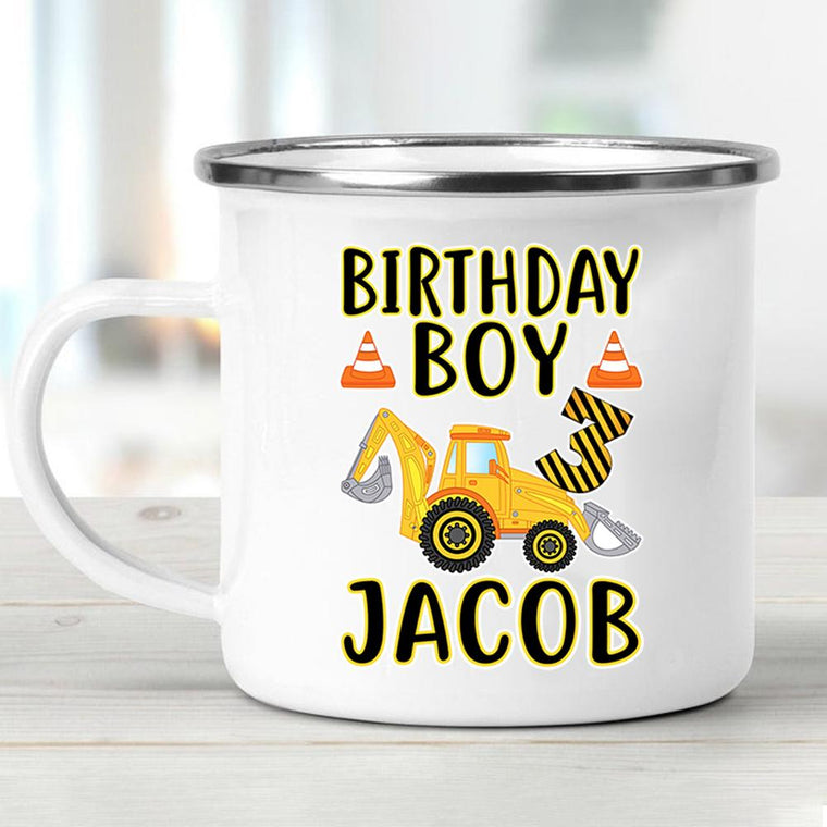 Custom Name Children's Birthday Enamel Campfire Mug I
