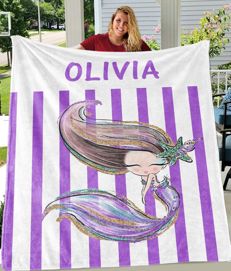 Custom Name Glitter Mermaid Fleece Blankets II